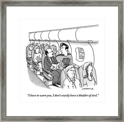 Superman Sits In A Plane Next To A Businessman Framed Print by Joe Dator