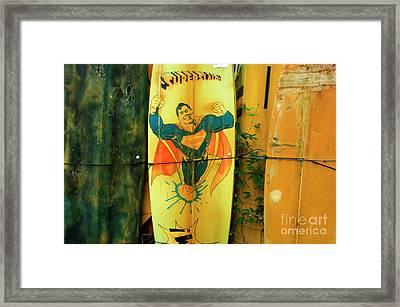 Superman Surfboard Framed Print by Bob Christopher