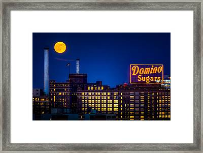 Supermoon Over Baltimore Framed Print by Geoffrey Baker