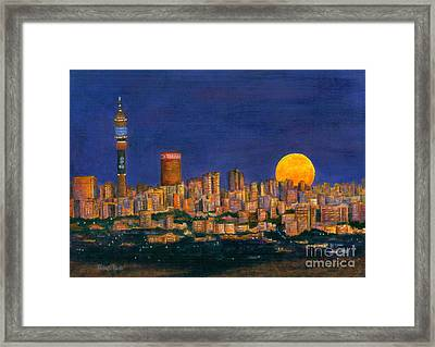 Supermoon Over Johannesburg Framed Print by Ursula Reeb