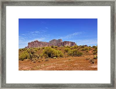 Superstition Mountains Arizona - Flat Iron Peak Framed Print by Christine Till