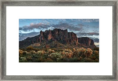 Superstitions Mountains Sunset Framed Print by Dave Dilli