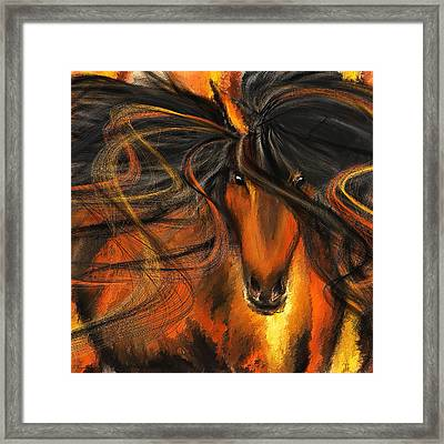 Equine Vagabond - Bay Horse Paintings Framed Print by Lourry Legarde