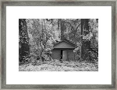 Sureal Gothic Infrared Woodlands Haunting Spooky Eerie Old Building With Black Ravens Framed Print by Kathy Fornal