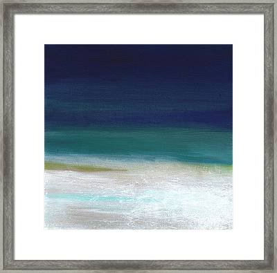 Surf And Sky- Abstract Beach Painting Framed Print by Linda Woods