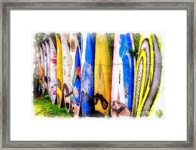 Surf Board Fence Maui Hawaii 3 Framed Print by Edward Fielding