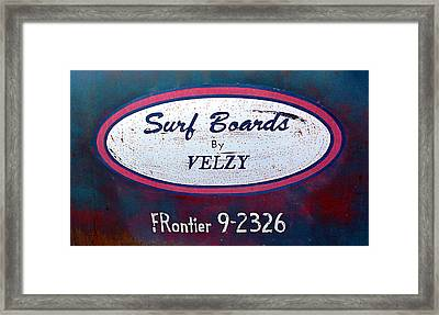 Surf Boards By Velzy Framed Print by Ron Regalado