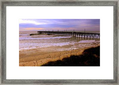Surf City Pier Framed Print by Karen Wiles