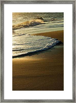 Surf On Sandy Beach, Sunrise Light Framed Print by Panoramic Images