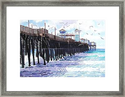 Surf View Oceanside Pier California Framed Print by Mary Helmreich
