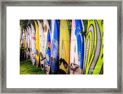Surfboard Fence Maui Hawaii Framed Print by Edward Fielding