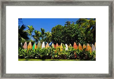 Surfboard Fence - Maui Framed Print by Paulette B Wright