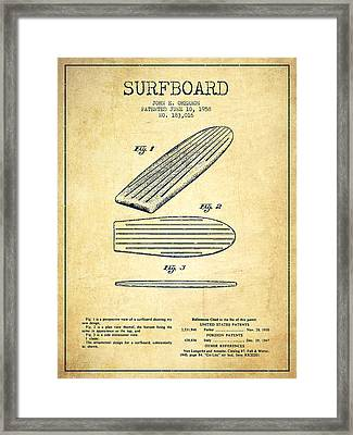 Surfboard Patent Drawing From 1958 - Vintage Framed Print by Aged Pixel