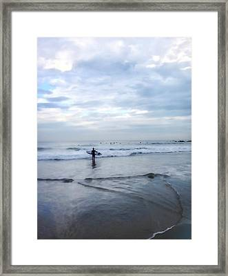 Surfer At Dawn Framed Print by Art Block Collections