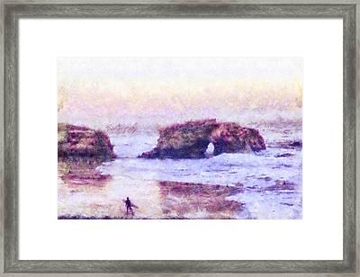 Surfer At Natural Bridges State Beach Framed Print by Priya Ghose