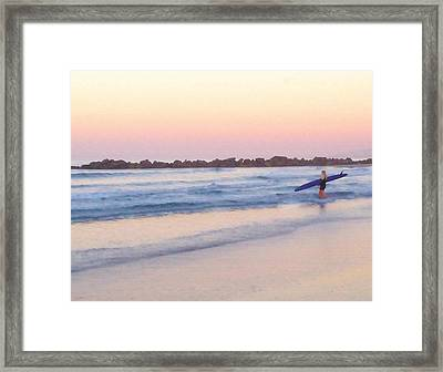 Surfer Girl Framed Print by Art Block Collections