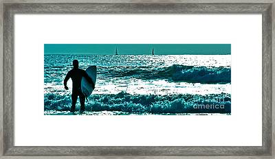 Surfer Heads Out To Catch A Wave 6 Framed Print by Micah May