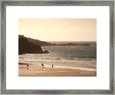 Surfers On Beach 03 Framed Print by Pixel Chimp