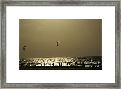 Surfing At Sunset 02 Framed Print by Arik Baltinester