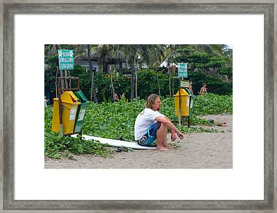 Surfing Bali Framed Print by Michael  Guercio