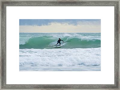 Surfing Bunker Beach Tarifa Spain Framed Print by Ben Welsh