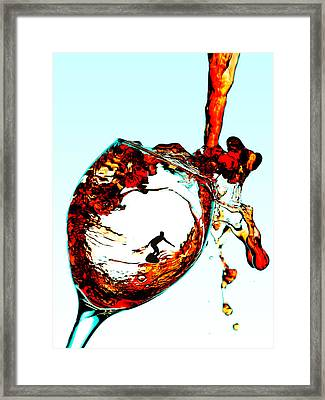 Surfing In A Cup Of Wine Little People On Food Framed Print by Paul Ge