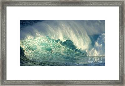 Surfing Jaws Hang Loose Brother Framed Print by Bob Christopher
