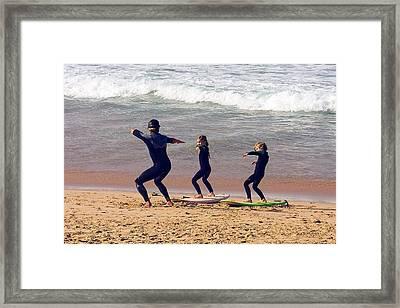 Surfing Lesson Framed Print by Stuart Litoff