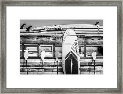 Surfs Up - Vintage Woodie Surf Bus - Florida - Black And White Framed Print by Ian Monk