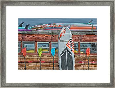 Surfs Up - Vintage Woodie Surf Bus - Florida - Hdr Style Framed Print by Ian Monk