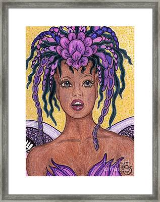 Surprise It Is The Iris Fairy Framed Print by Sherry Goeben