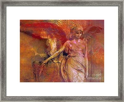 Surreal Angel Art Photography - Dreamy Impressionistic Surreal Ethereal Angel Art Framed Print by Kathy Fornal