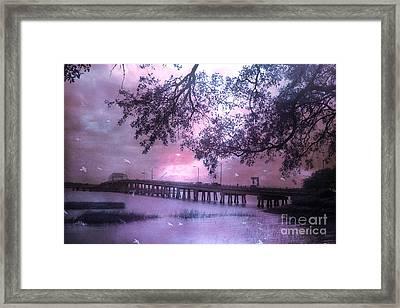 Surreal Beaufort South Carolina Nature And Bridge  Framed Print by Kathy Fornal