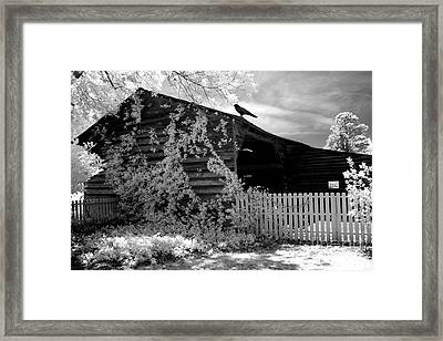 Surreal Black And White Infrared Gothic Nature Barn Landscape With Black Raven Framed Print by Kathy Fornal