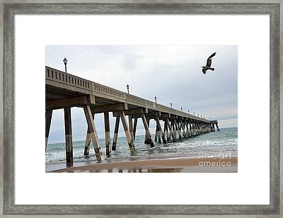 Surreal Blue Sky Ocean Coastal Fishing Pier Seagull North Carolina Atlantic Ocean Framed Print by Kathy Fornal