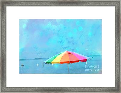Surreal Blue Summer Beach Ocean Coastal Art - Beach Umbrella  Framed Print by Kathy Fornal