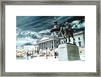 Surreal Columbia South Carolina State House - Statue Monuments Framed Print by Kathy Fornal