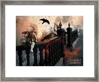 Surreal Dark Fantasy Gothic Cherub Skull And Ravens - The End Days - Apocolyptic  Framed Print by Kathy Fornal