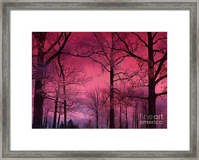 Surreal Dark Pink Fantasy Nature - Haunting Dark Pink Sky Nature Tree Forest Woodlands Framed Print by Kathy Fornal