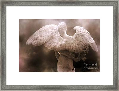 Surreal Dreamy Angel Art Wings - Ethereal Sepia Angel Art Wings Framed Print by Kathy Fornal
