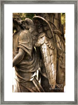 Surreal Dreamy Angel Art Wings - Guardian Angel Art Wings Framed Print by Kathy Fornal