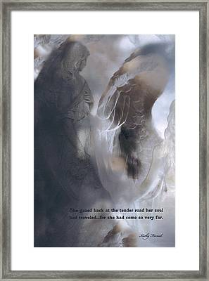 Surreal Dreamy Ethereal Fantasy Spiritual Angel Art With Inspirational Message Framed Print by Kathy Fornal