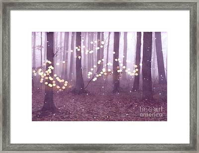 Surreal Dreamy Fairy Lights Ethereal Pink Lavender Woodlands Twinkling Lights Fantasy Nature  Framed Print by Kathy Fornal