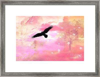 Surreal Dreamy Fantasy Ravens Pink Sky Scene Framed Print by Kathy Fornal