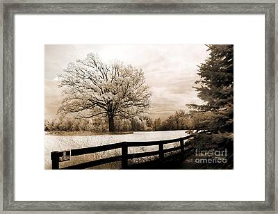 Surreal Dreamy Infrared Trees Nature Sepia Ethereal Landscape With Fence Framed Print by Kathy Fornal