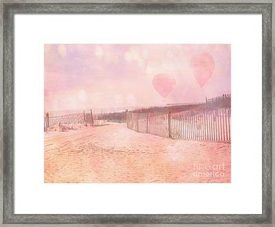 Surreal Dreamy Pink Coastal Summer Beach Ocean With Balloons Framed Print by Kathy Fornal