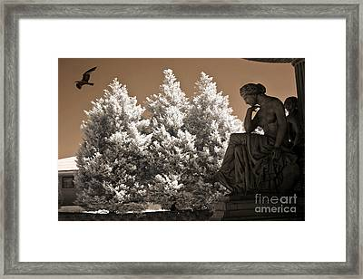 Surreal Ethereal Dreamy Infrared Sepia Female Statue Nature Ravens Landscape Framed Print by Kathy Fornal