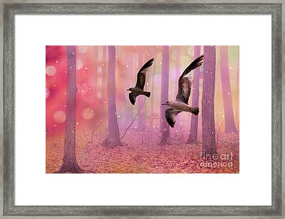 Surreal Fairytale Fantasy Nature Bird Woodland Landscape Framed Print by Kathy Fornal