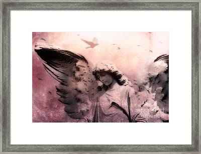 Surreal Fantasy Angel With Large Wings - Spiritual Ethereal Angel Art Framed Print by Kathy Fornal