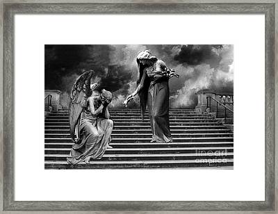 Surreal Fantasy Angels Weeping Black And White Print - Angels Cry Too Framed Print by Kathy Fornal